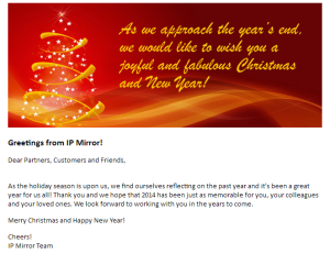 Christmas Greeting from IP Mirror