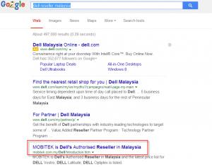 Google SERP 'Dell Reseller Malaysia'